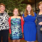 Scholarship winners Madison Neimer and Veronica O'Leary with Co-Presidents Mary Lou McDowell and Barbara Warfel